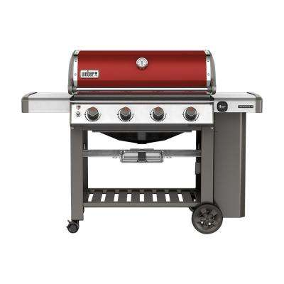 Genesis II E-410 4-Burner Propane Gas Grill in Crimson with Built-In Thermometer