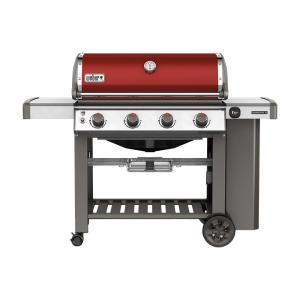 Click here to buy Weber Genesis II E-410 4-Burner Propane Gas Grill in Crimson with Built-In Thermometer by Weber.