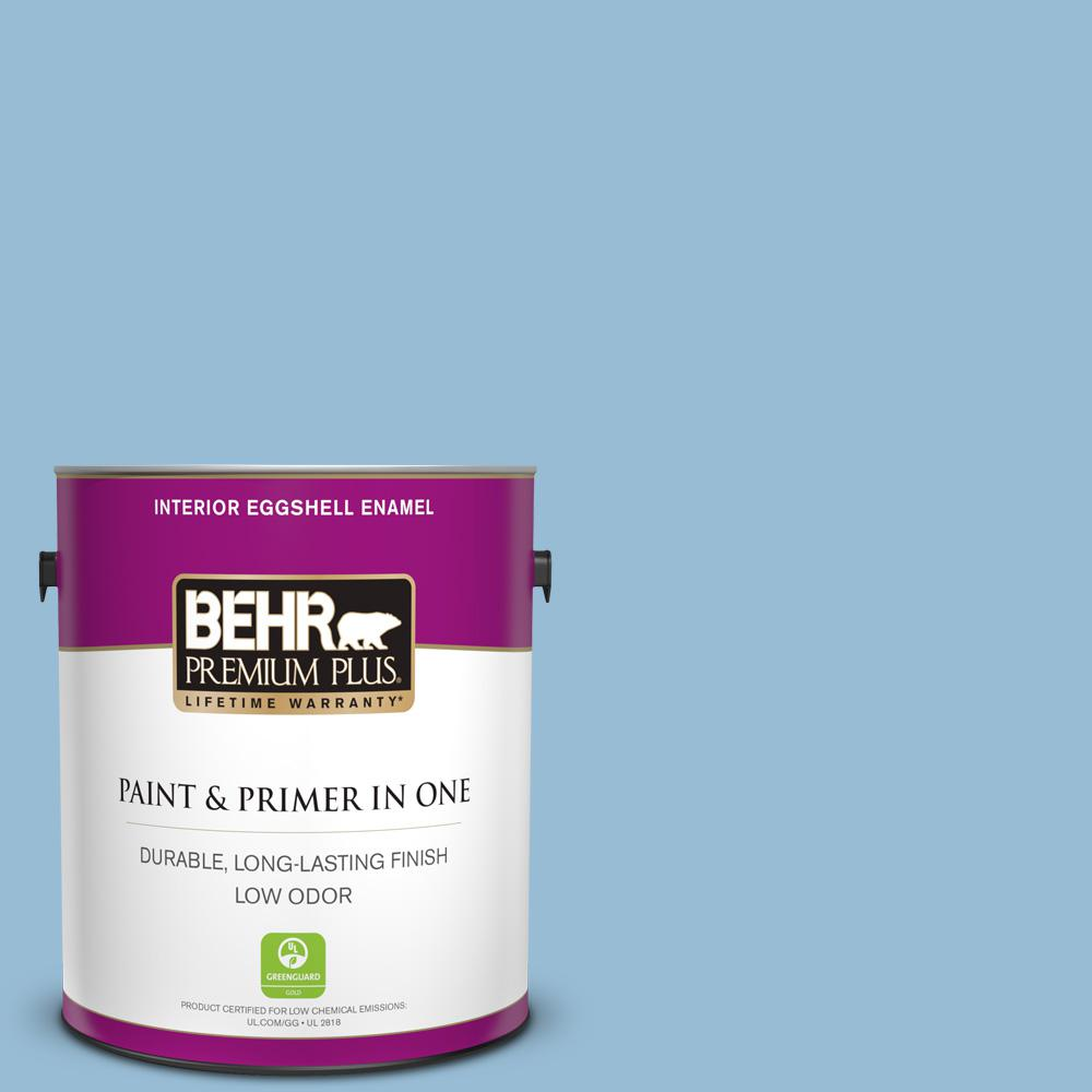 Behr Premium Plus 1 Gal Ppu14 11 Gentle Sky Eggshell Enamel Low Odor Interior Paint And Primer In One 205001 The Home Depot