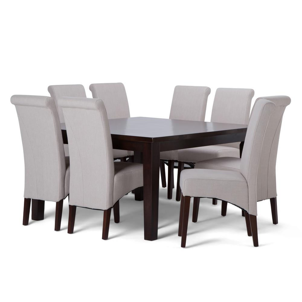 Simpli Home Avalon 9-Piece Dining Set With 6 Upholstered