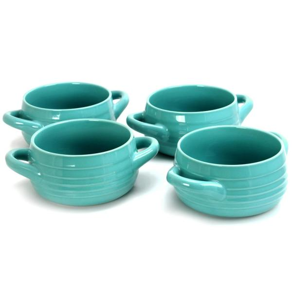 Plaza Caf 29.7 oz. Turquoise Soup Bowl (Set of 4)
