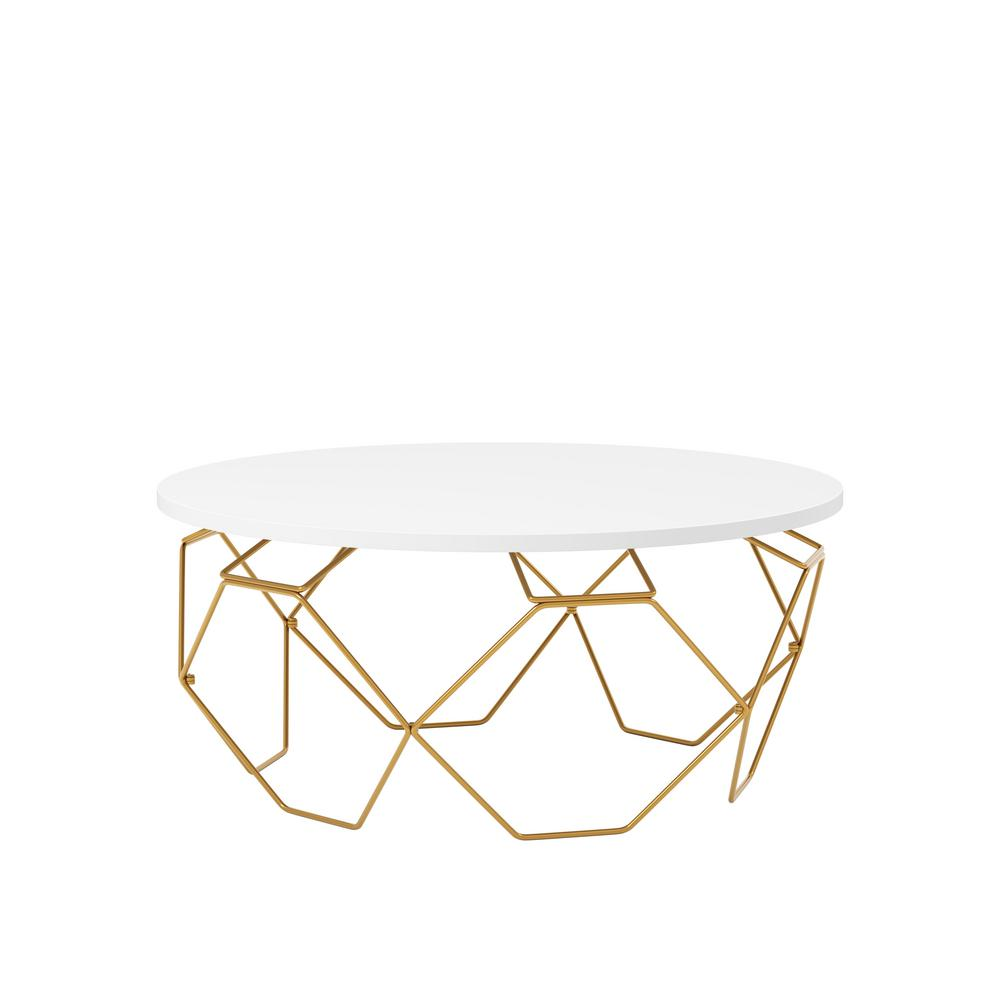 Zade 15.75 in. H. Gold and White Round Coffee Table