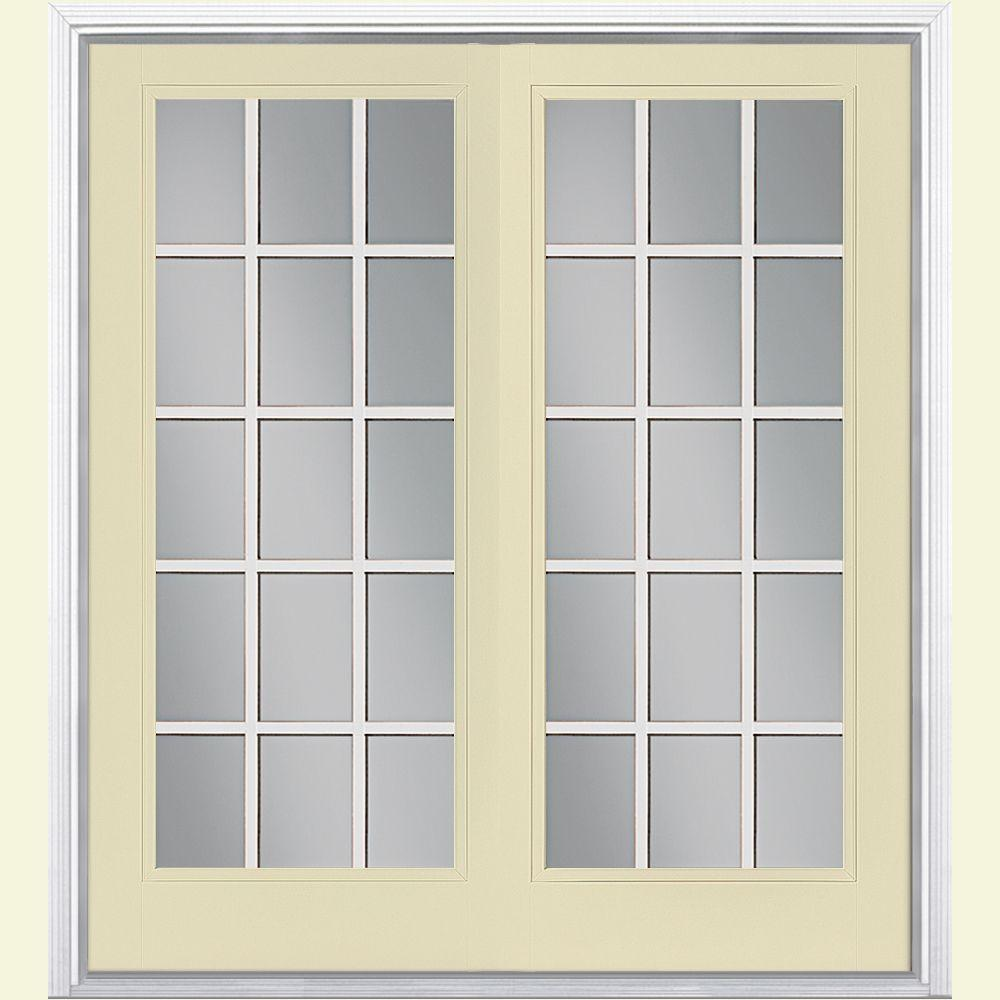 Masonite 72 in. x 80 in. Golden Haystack Prehung Right-Hand Inswing 15 Lite Steel Patio Door with Brickmold in Vinyl Frame
