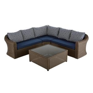 Hampton Bay Maldives Brown Wicker Patio Sectional Set with Sunbrella Navy Cushion by Hampton Bay