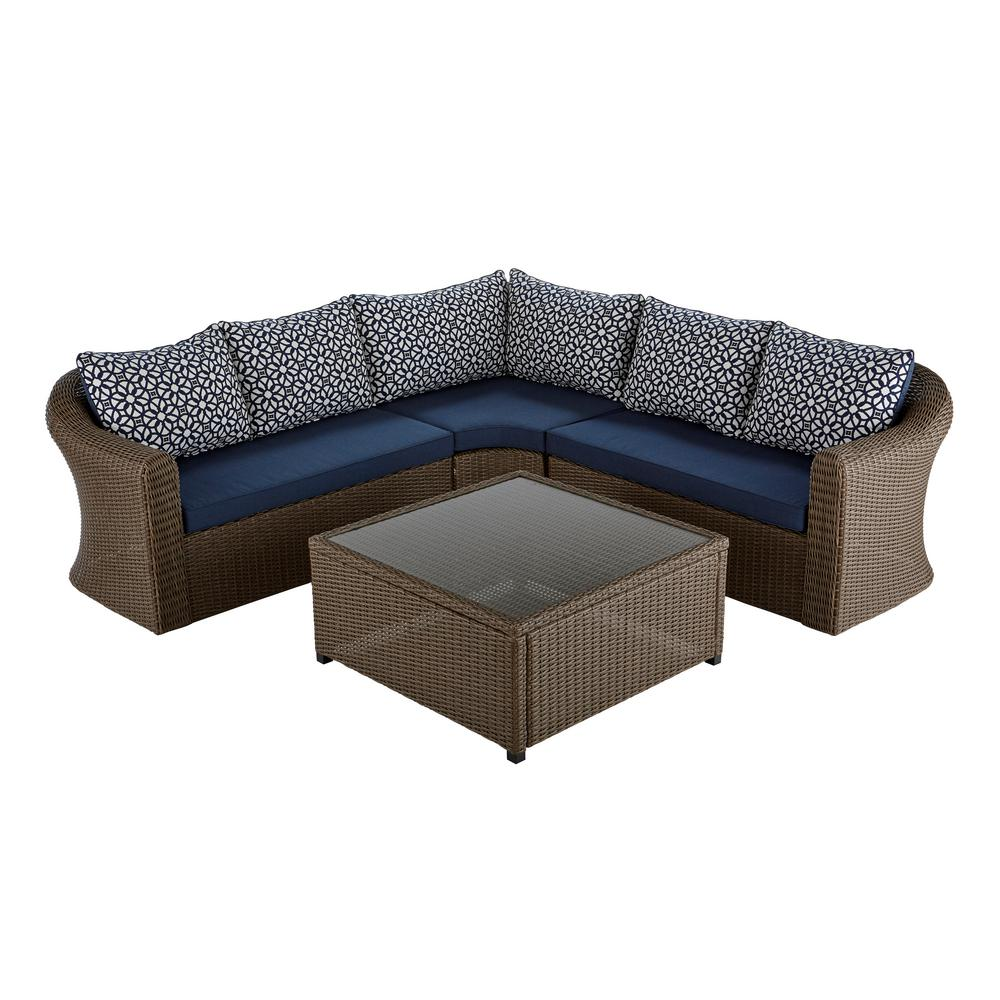 Home Decorators Brown Wicker Sectional Set Navy Cushion