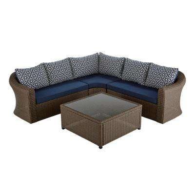 Maldives Brown Wicker Patio Sectional Set with Sunbrella Navy Cushion