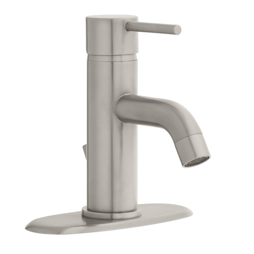 Glacier Bay Modern Single Hole Single-Handle Low-Arc Bathroom Faucet in  Brushed Nickel