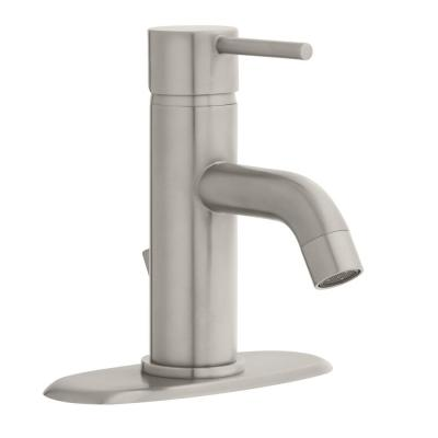 Modern Single Hole Single-Handle Low-Arc Bathroom Faucet in Brushed Nickel