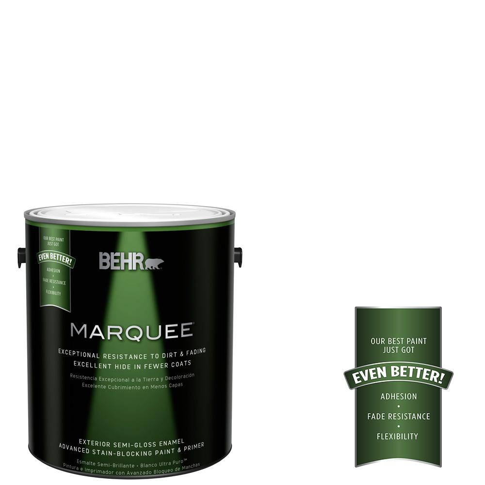 1 gal. Ultra Pure White Semi-Gloss Exterior Paint and Primer in