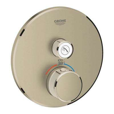 Grohtherm Smart Control Single Function Round Thermostatic Trim with Control Module in Brushed Nickel
