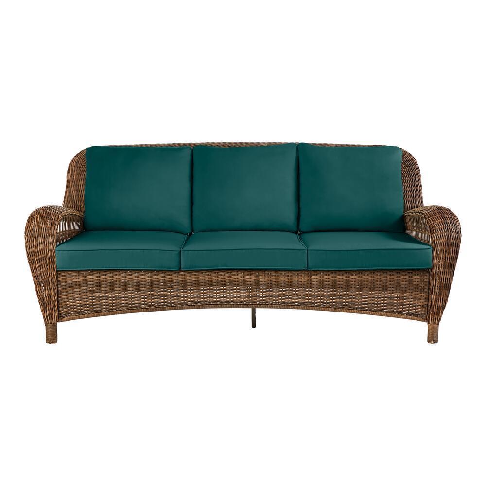 Beacon Park Brown Wicker Outdoor Patio Sofa with CushionGuard Malachite Green Cushions