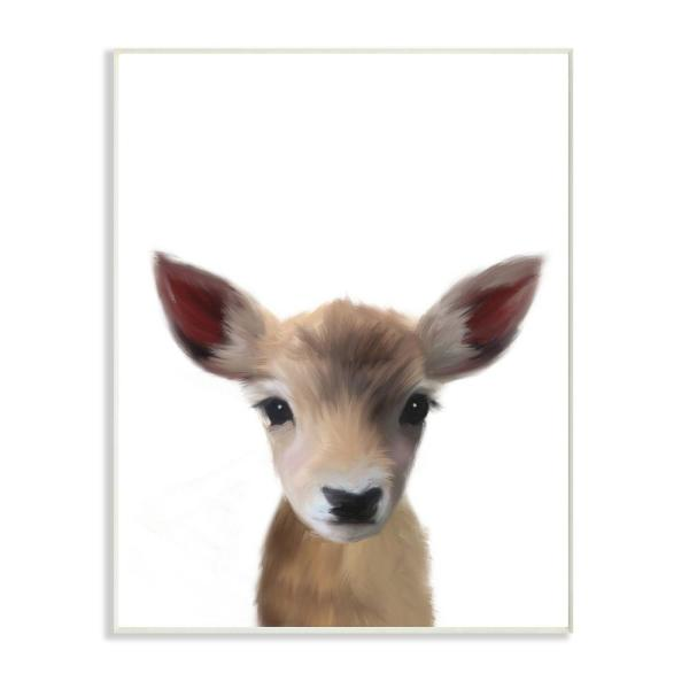10 in. x 15 in. ''Baby Deer'' by Leah Straatsma Wood Wall Art