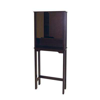 Ambassador 25-87/100 in. W x 67 in. H x 10-1/2 in. D Over the Toilet Storage Cabinet in Espresso