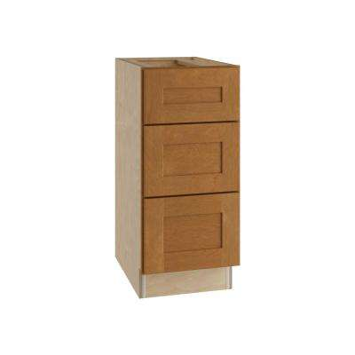 Hargrove Assembled 15x34.5x24 in. Hargrove Assembled Base Cabinet with 3 Drawers in Cinnamon
