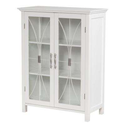 Victorian 26 in. W x 34 in. H x 12-1/2 in. D Bathroom Linen Storage Floor Cabinet in White