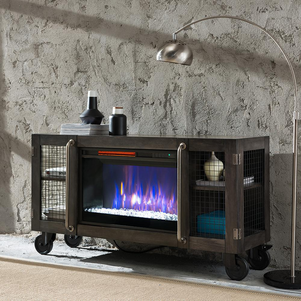 unbranded Bold Flame Revolution 53 in. Wire Mesh Storage Electric Fireplace in Charcoal Gray