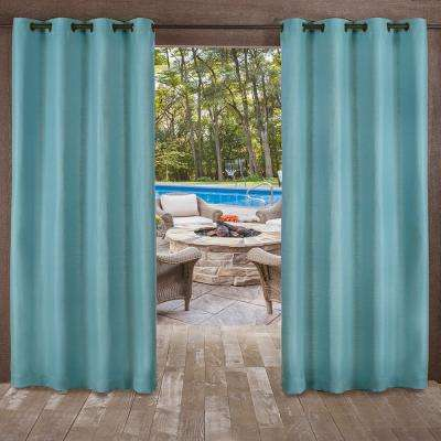 Delano 54 in. W x 108 in. L Indoor Outdoor Grommet Top Curtain Panel in Teal (2 Panels)