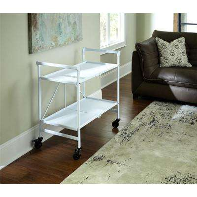 Smartfold White Serving Cart