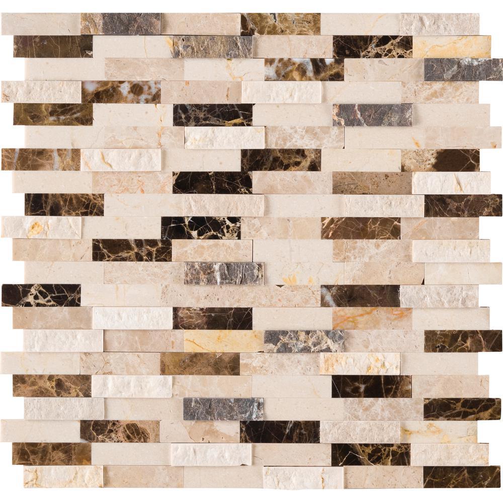 Brown kitchen mosaic tile tile the home depot emperador ppazfo