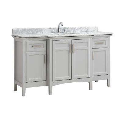 Ellis 60 in. W x 22 in. D Bath Vanity in Dove Gray with Carrara Marble Vanity Top with White Basin