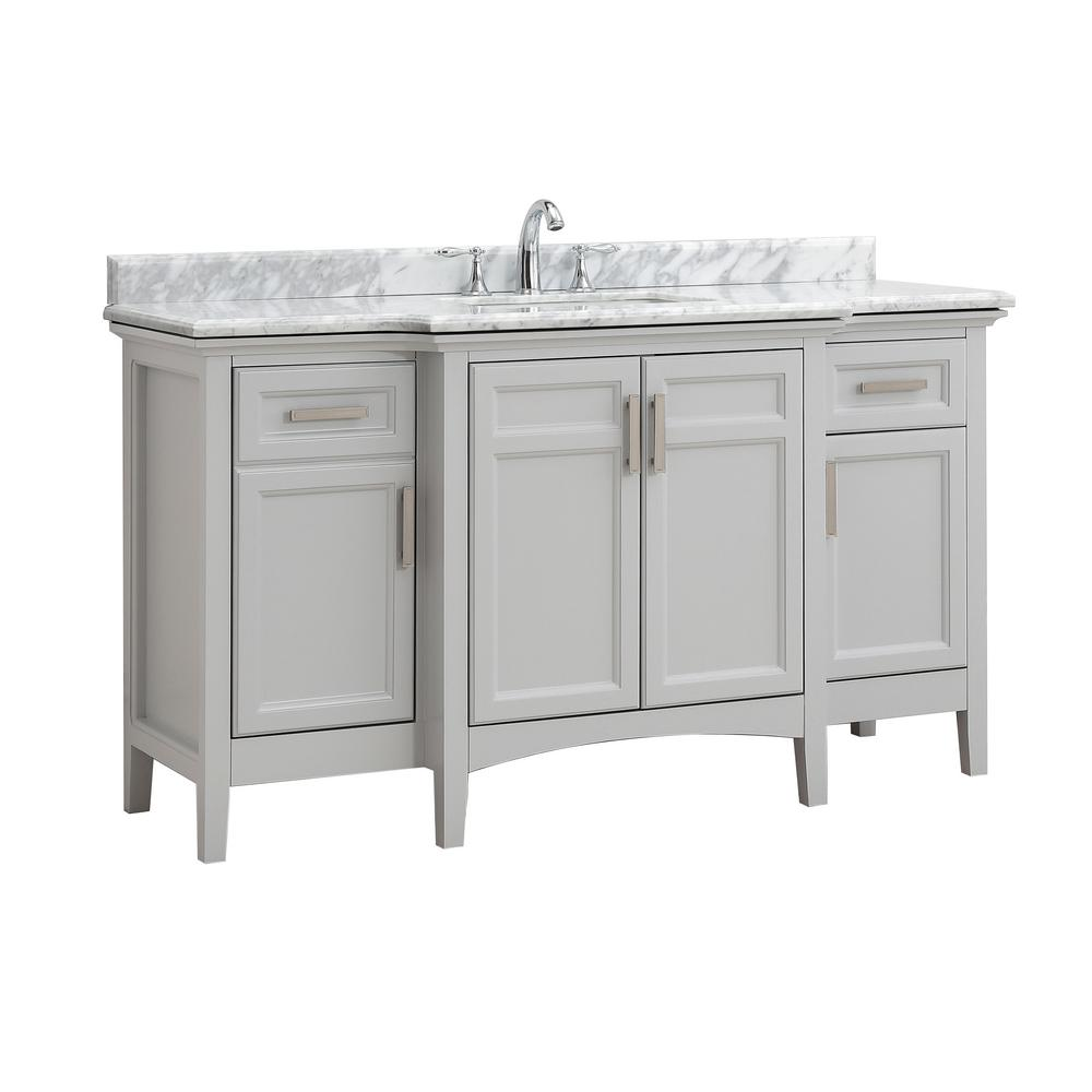 Bath Vanity Dove Gray Marble Vanity Top White Basin