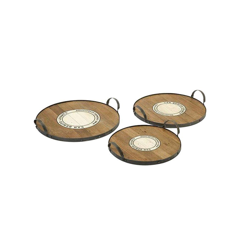Home Decorators Collection Benito Wood and Metal Aged Brown Trays (Set of 3)