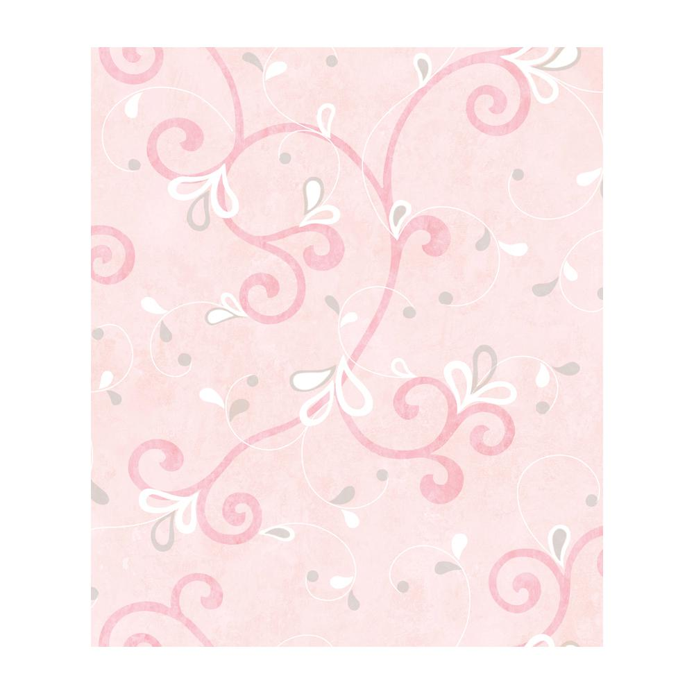 Jada Pink Girly Floral Scroll Wallpaper