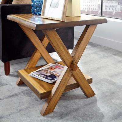 Forest Retreat Live Teak Wood Brown End Table