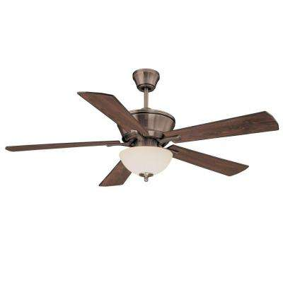 52 in. Brushed Pewter Ceiling Fan with White Scavo Glass