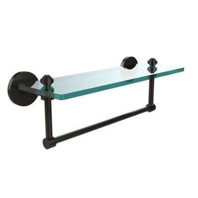 Southbeach 16 in. L  x 5 in. H  x 5 in. W Clear Glass Vanity Bathroom Shelf with  Towel Bar in Oil Rubbed Bronze
