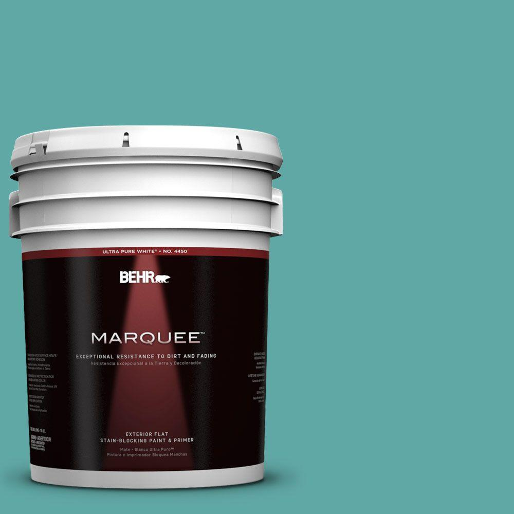 BEHR MARQUEE 5-gal. #500D-5 Teal Zeal Flat Exterior Paint