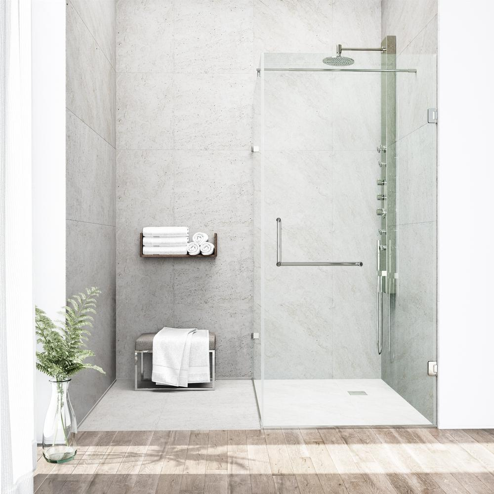 Pacifica 46 in. x 73.375 in. Frameless Pivot Shower Enclosure in