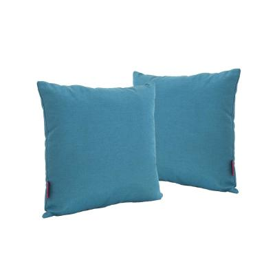 Lomita Teal Solid Square Outdoor Throw Pillow (2-Pack)