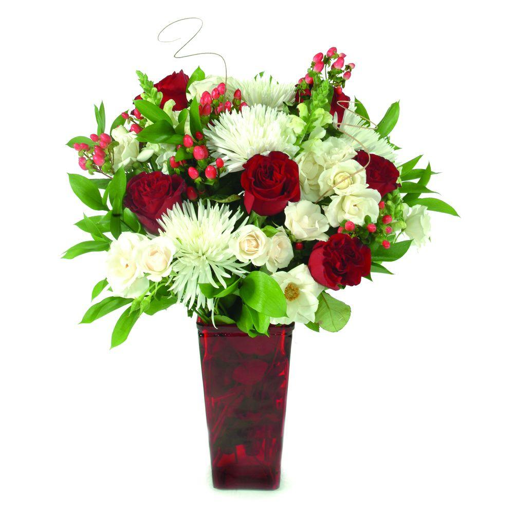 The Ultimate Bouquet Elegance Bouquet-Classic Fresh Cut Flower Bouquet in a Red Vase, Overnight Shipping Included-DISCONTINUED