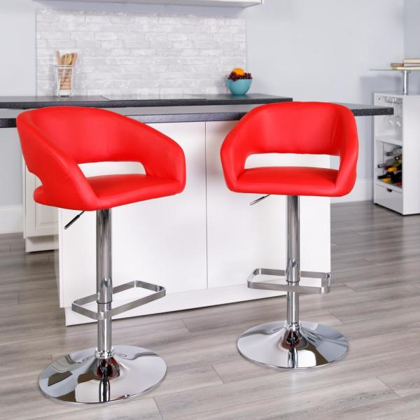 Flash Furniture 32 in. Adjustable Height Red Cushioned Bar Stool CH122070RED