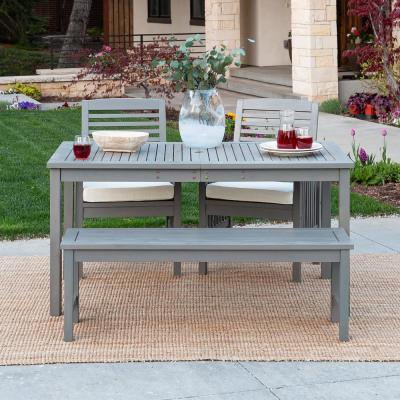 Grey Wash 4-Piece Simple Wood Outdoor Patio Dining Set with Cream Cushions