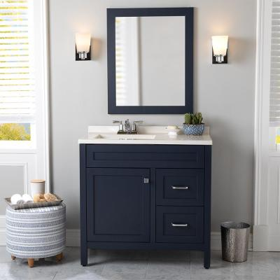 Maywell 36.5 in. W x 18.75 in. D x 37.7 in. H Vanity in Blue with Solid Surface Vanity Top in Snow with White Sink
