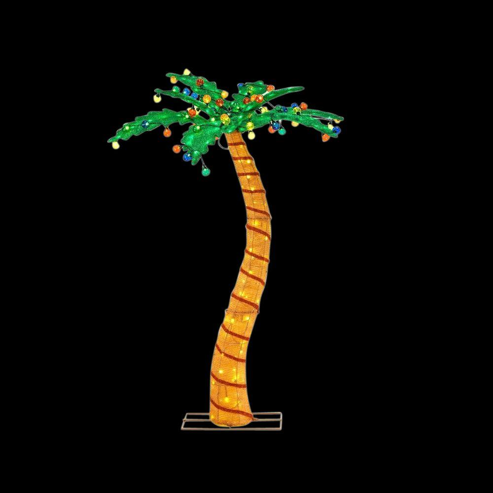 Home accents holiday 72 in led lighted tinsel palm tree for Led outdoor decorations
