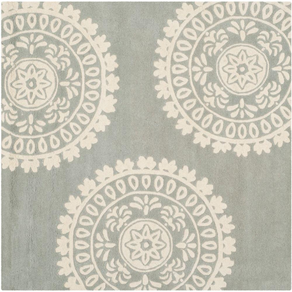 Bella Grey/Ivory 7 ft. x 7 ft. Square Area Rug