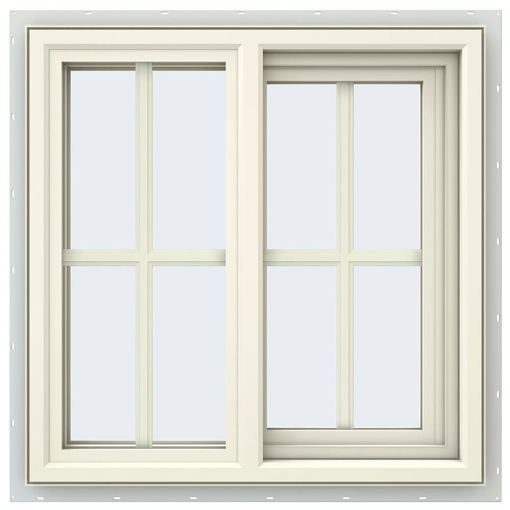 JELD-WEN 23.5 in. x 23.5 in. V-4500 Series Cream Painted Vinyl Right-Handed Sliding Window with Colonial Grids/Grilles