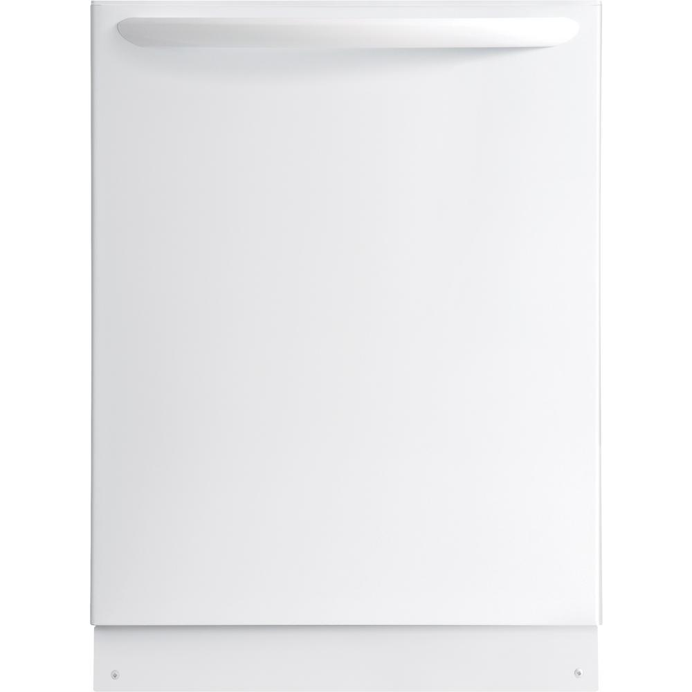 Top Control Built-In Tall Tub Dishwasher in White with Stainless Steel