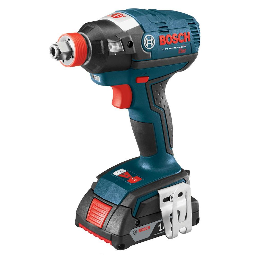 Bosch 18 Volt Lithium-Ion Cordless EC Brushless 1/4 in. Cordless Hex and 1/2 in. Square Drive Socket-Ready Impact Driver Kit