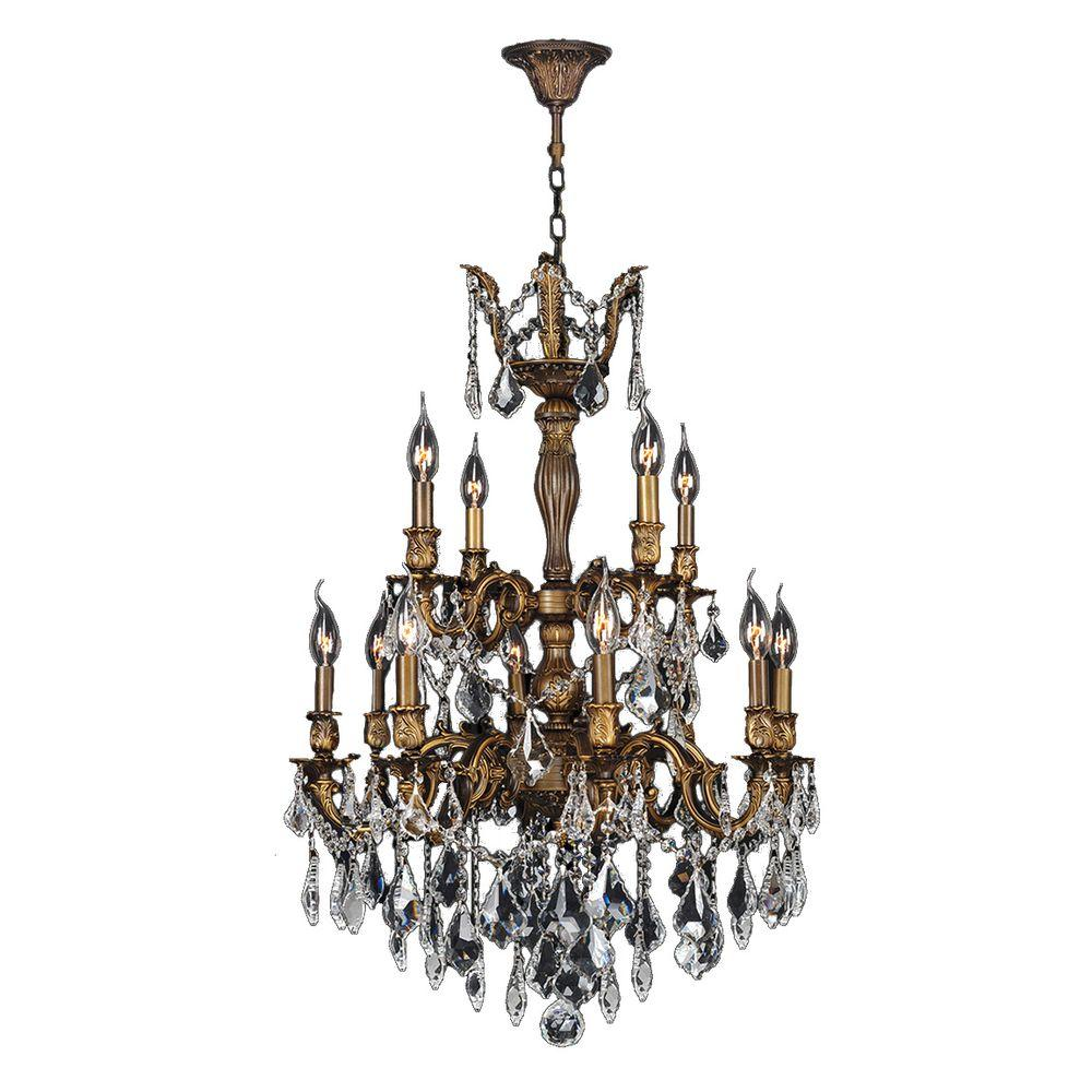 Worldwide Lighting Versailles 12-Light Antique Bronze and Clear Crystal  Chandelier - Worldwide Lighting Versailles 12-Light Antique Bronze And Clear