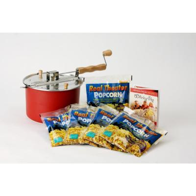 6-Piece Aluminum Red Stovetop Popcorn Set with Real Theater All-Inclusive Popping Kit (5-Pack)