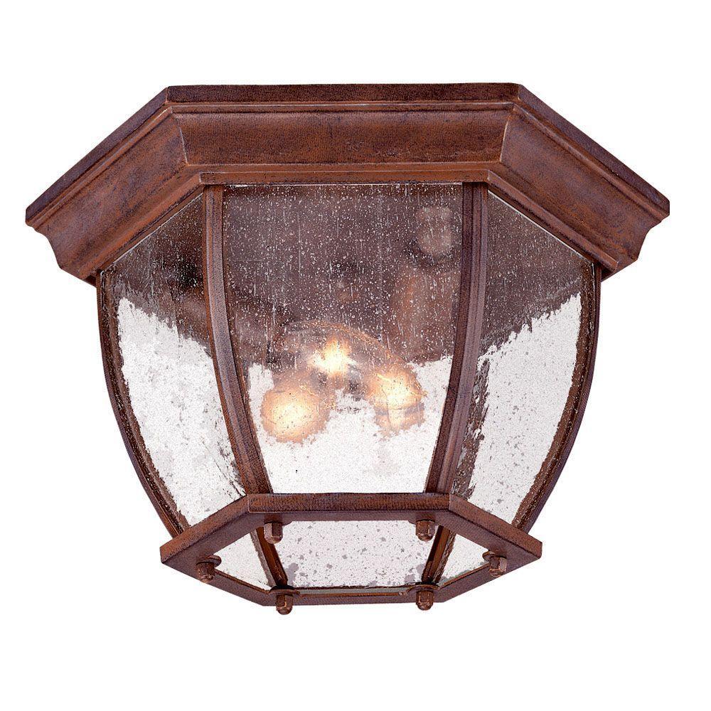 Flushmount Collection Ceiling-Mount 3-Light Burled Walnut Outdoor Light Fixture