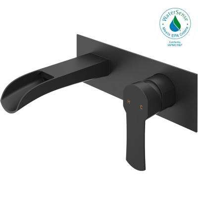 Cornelius Single-Handle Wall Mount Bathroom Faucet in Matte Black
