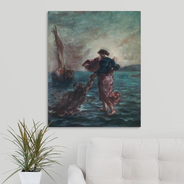Christ Walking On Water And Reaching Out His Hand To Save Saint Peter By Eugene Delacroix Canvas Wall Art