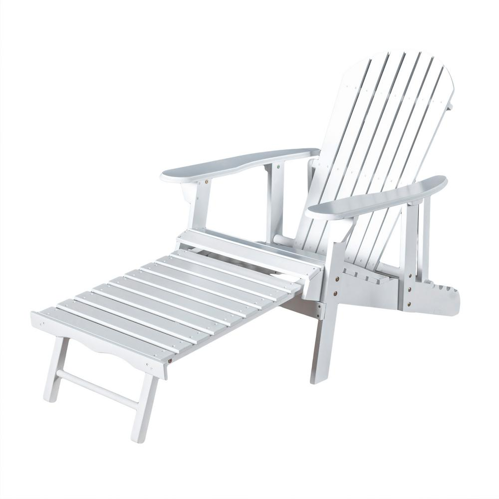 Noble House Hayle White Reclining Wood Adirondack Chair