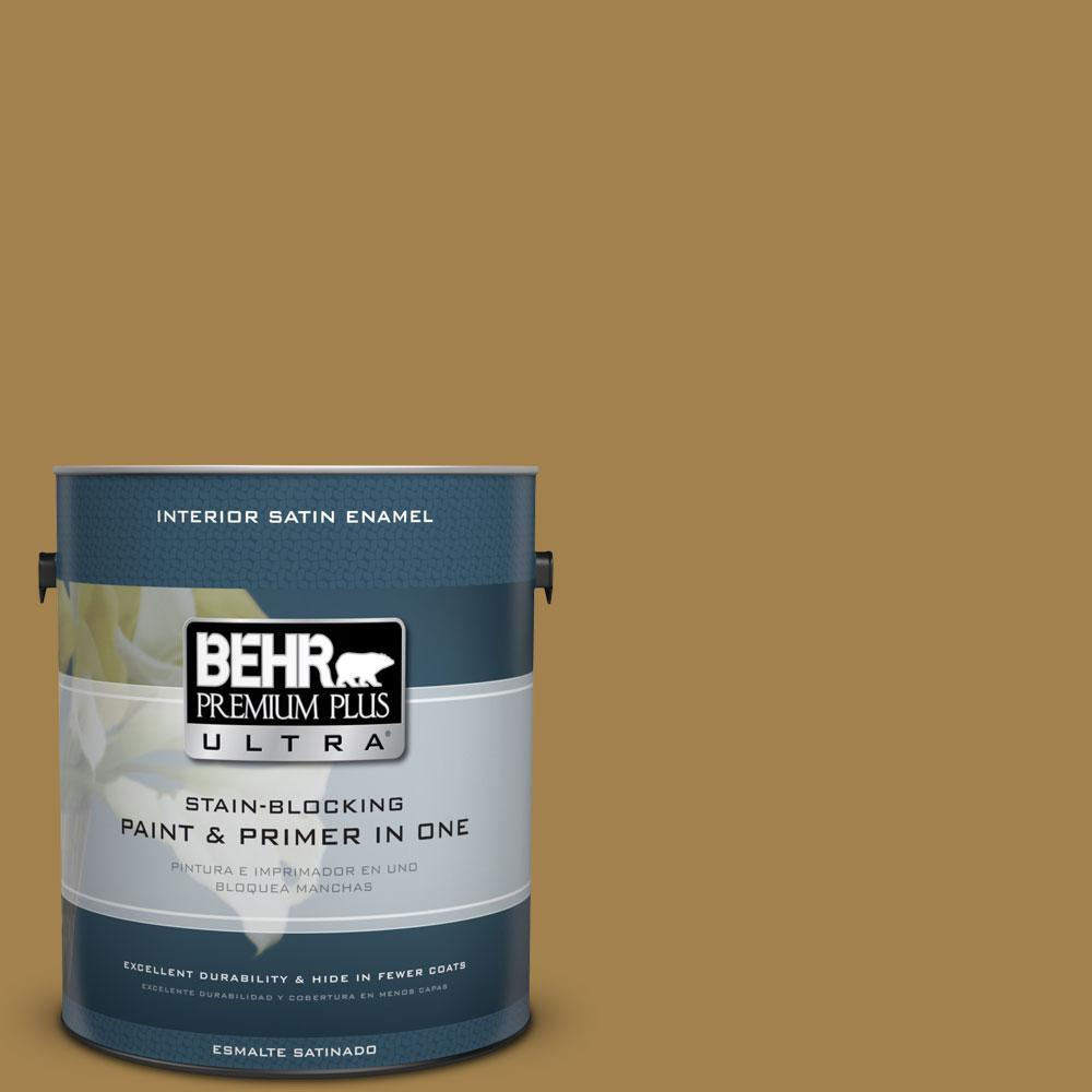 BEHR Premium Plus Ultra 1-gal. #340F-7 Woven Basket Satin Enamel Interior Paint