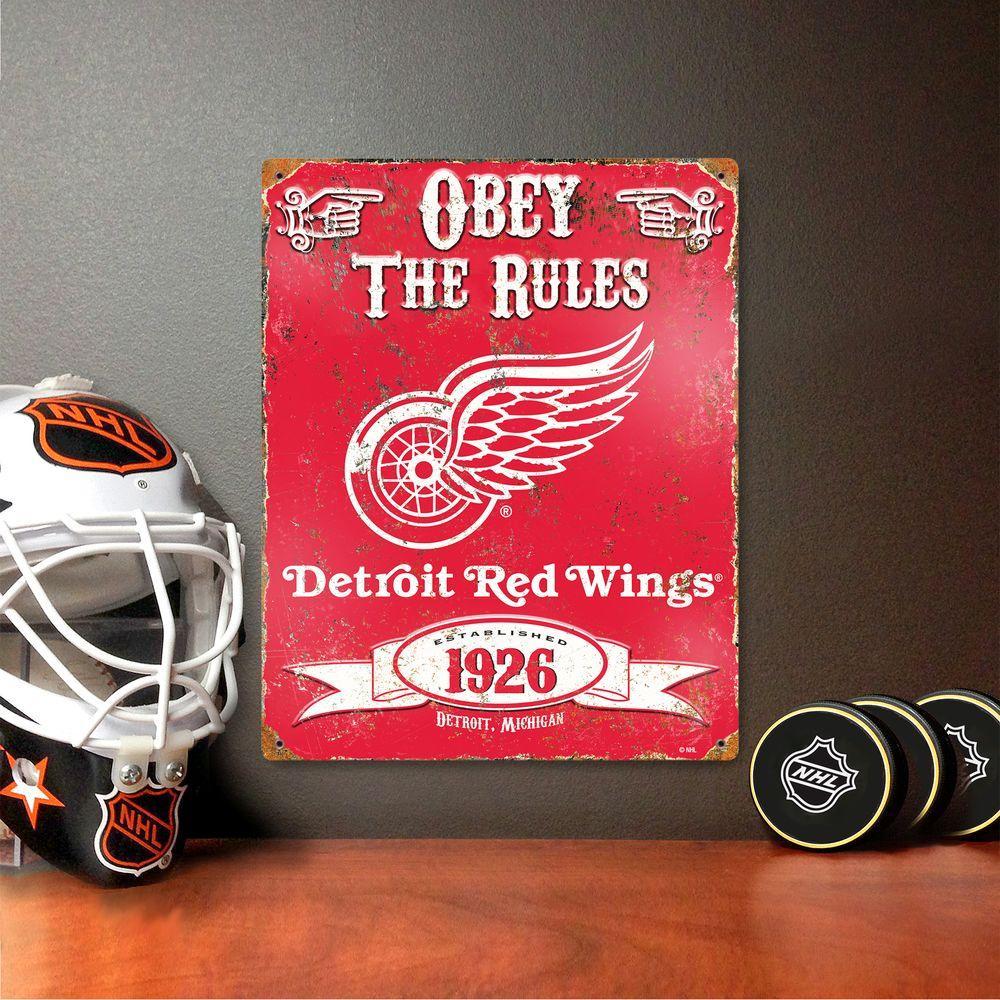 14.5 in. H x 11.5 in. D Heavy Duty Detroit Red Wings Embossed Metal Sign Wall Art